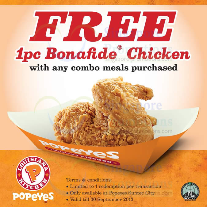 Suntec City Free 1pc Chicken With Any Combo Meal