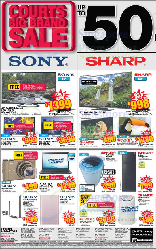 Sony KDL-46W704A TV, Sony KDL-42W674A TV, Sony KDL-55W904A TV, Sony Vaio SVF15219CG Notebook, Sony BDV-N890W Home Theatre System, Sharp ESR90GSA Washer and Sharp IGDK1E Ion Generator