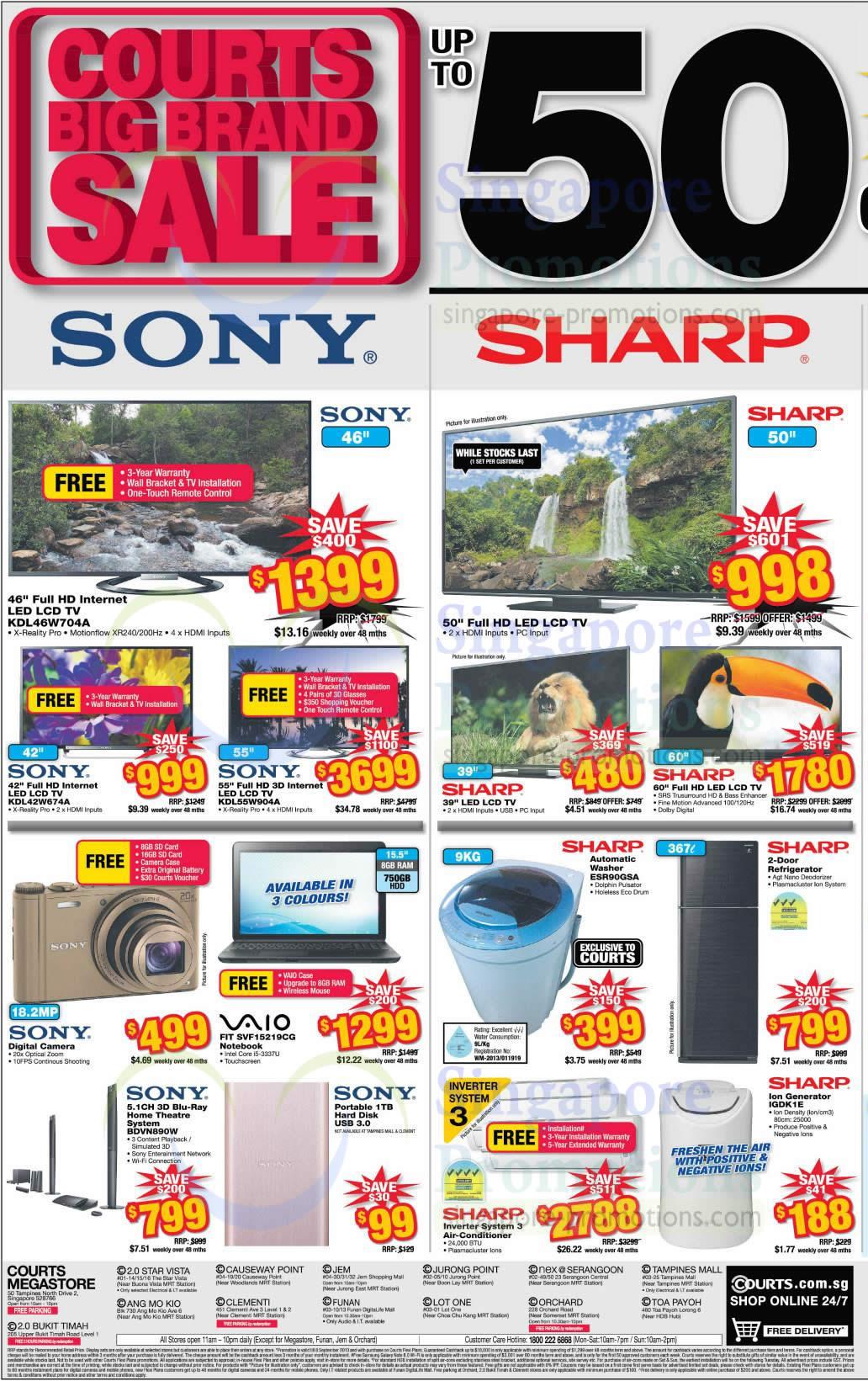 Sony KDL-46W704A TV, Sony KDL-42W674A TV, Sony KDL-55W904A TV, Sony Vaio SVF15219CG Notebook, Sony BDV-N890W Home Theatre System, Sharp ESR90GSA Washer and Sharp IGDK1E Ion Generator