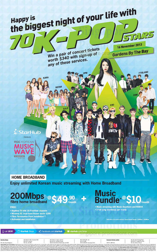 49.90 200Mbps, Music Bundle Unlimited Korean Music Streaming