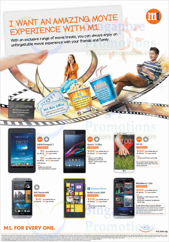 ASUS Fonepad 7, Sony Xperia Z Ultra, LG G2, Blackberry Z30, Nokia Lumia 1020, HTC Desire 601