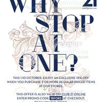 Read more about Club 21 15% Off Promo @ All Outlets 1 - 10 Oct 2013