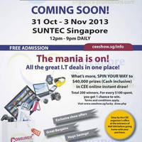 Read more about Consumer Electronics Exhibition @ Suntec 31 Oct - 3 Nov 2013