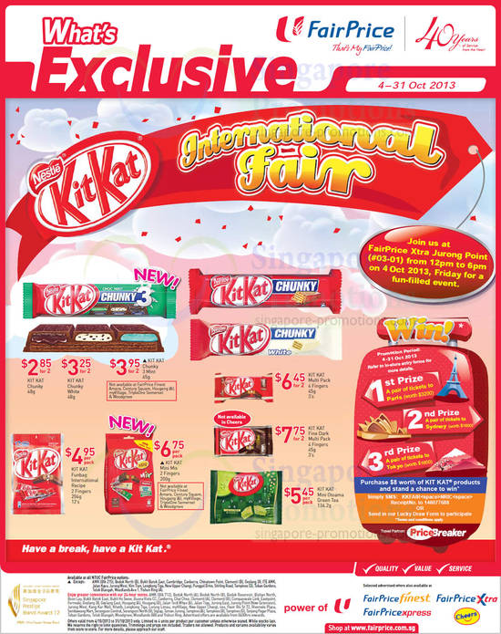 Kit Kat International Fair, Dark, Mini Otoama Green Tea, Chunky White, Mint