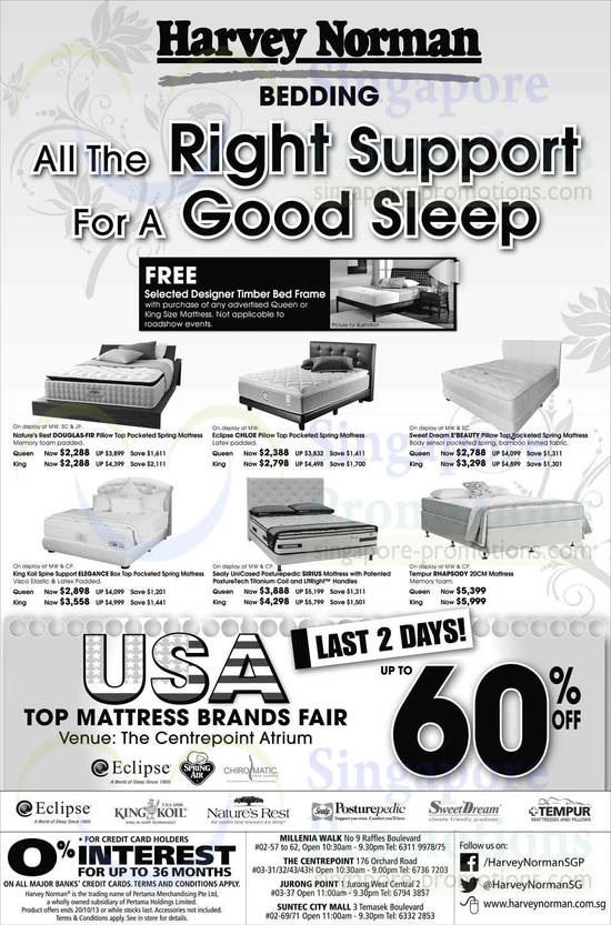 Nature's Rest DOUGLAS-FIR Mattress, Eclipse Chloe Mattress, Sweet Dream E'Beauty Mattress, King Koil Spine Support Elegance Mattress, Sealy UniCased Posturepedic Sirius Mattress and Tempur Rhapsody Mattress