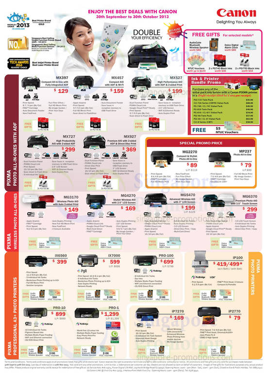 Pixma Photo Inkjet Printers, All In Ones, A3 listed are Canon MX397 Printer, Canon MX457 Printer, Canon MX527 Printer, Canon MX727 Printer, Canon MX927 Printer, Canon MG2270 Printer, Canon MP237 Printer, Canon MG3170 Printer, Canon MG4270 Printer, Canon MG5470 Printer and Canon MG6370 PrinterAlso listed are Canon iX6560 Printer, Canon iX7000 Printer, Canon PRO-100 Printer, Canon iP100 Printer, Canon PRO-10 Printer, Canon PRO-1 Printer, Canon iP7270 Printer and Canon iP2770 Printer