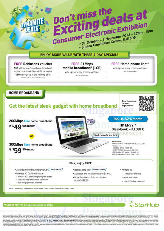 Roadshow Specials, Fibre Broadband 49.90 200Mbps, 300mbps 59.90, Top Up HP Envy Sleekbook K108TX Notebook