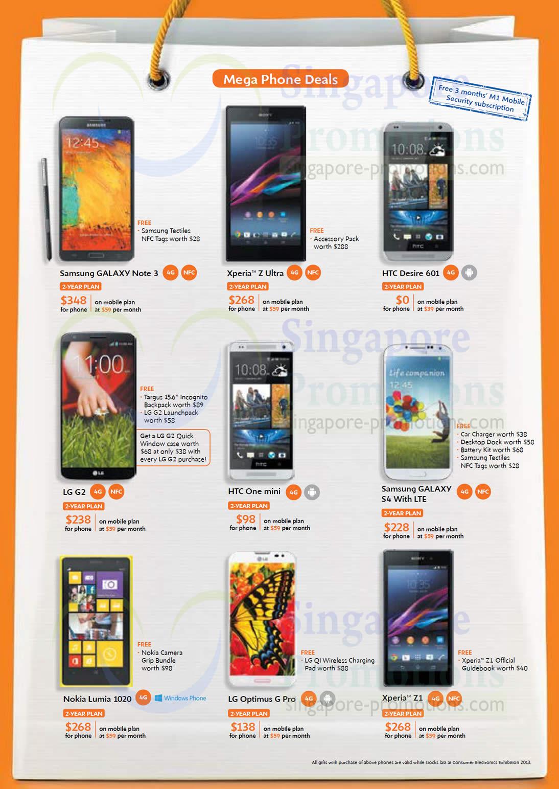 Samsung Galaxy Note 3, S4, Sony Xperia Z Ultra, Z1, HTC Desire 601, One Mini, LG G2, Optimus G Pro, Nokia Lumia 1020