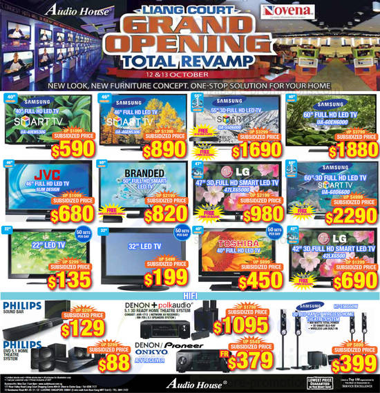 Samsung UA40EH5306 TV, Samsung UA46EH5306 TV, Samsung UA55D6000 TV, Samsung UA60EH6000 TV, LG 47LX65000 TV, Samsung UA60D6600 TV, LG 42LX6500 TV and Samsung HTES6550W Home Theatre System