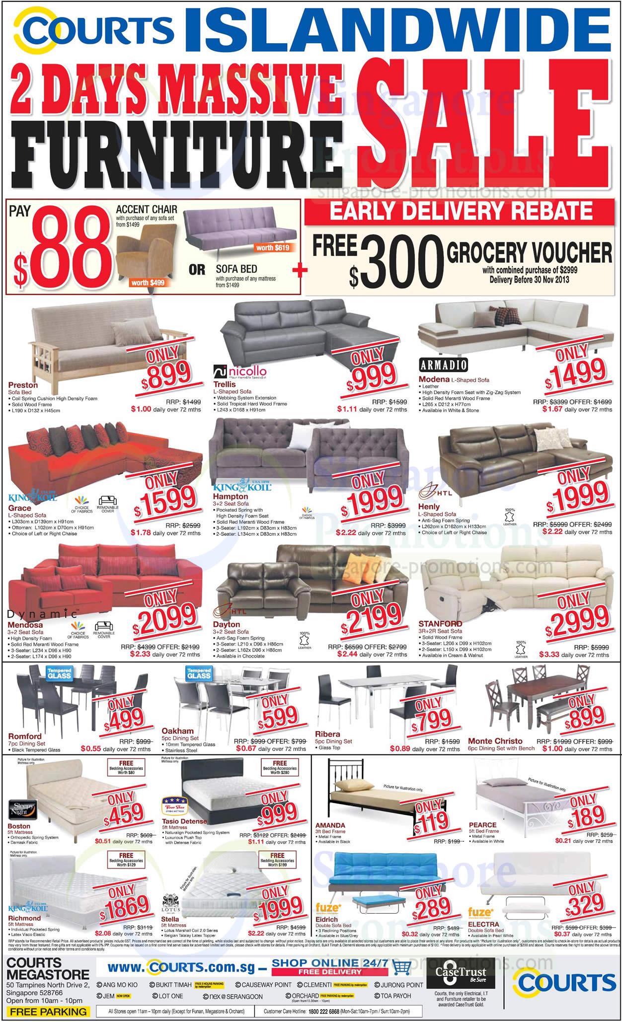 3 Nov Sofa Sets, Dining Sets, Bed Frames, Mattresses