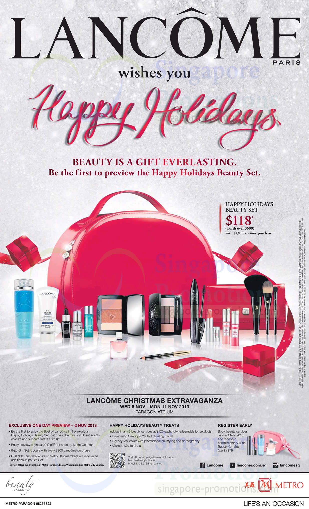 31 Oct 20 Percent Off Preview On 2 Nov at Lancome Metro Counters