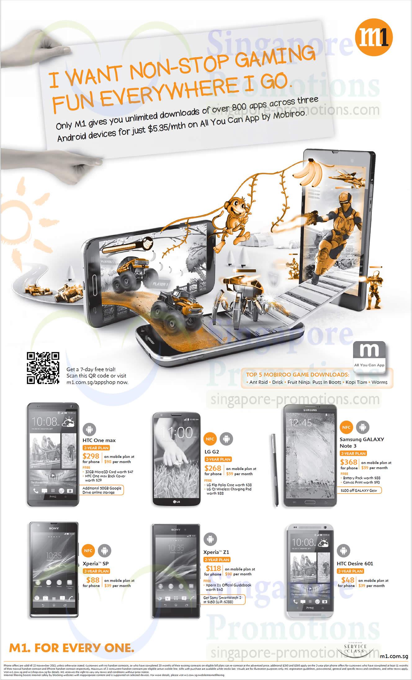 HTC One Max, Desire 601, LG G2, Samsung Galaxy Note 3, Sony Xperia SP, Sony Xperia Z1