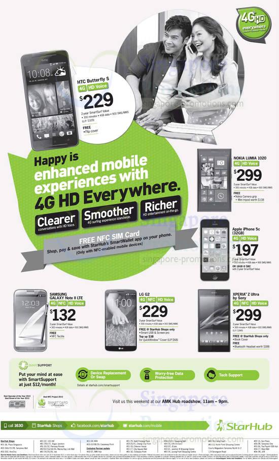 Nokia Lumia 1020, Apple iPhone 5C, Sony Xperia Z Ultra, LG G2, Samsung Galaxy Note II LTE, HTC Butterfly S