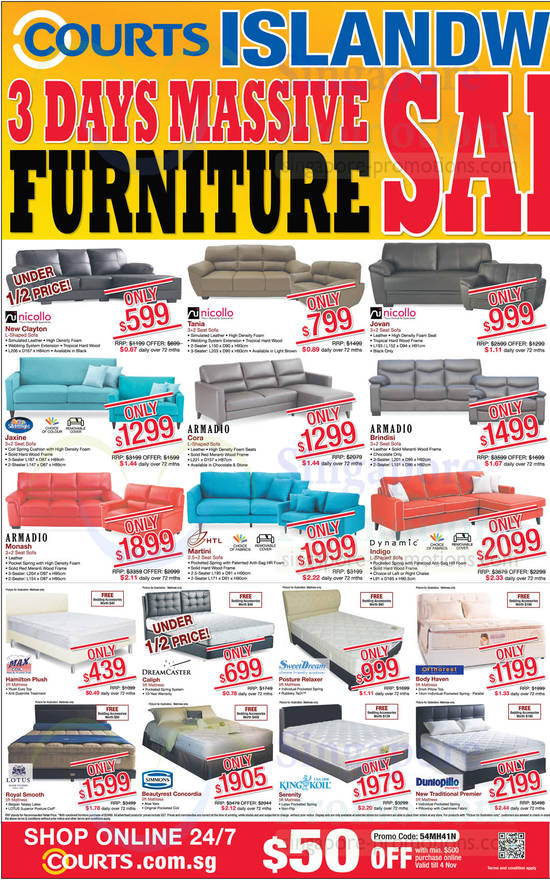 Sofas, Mattress, Nicollo, Silentnight, Armadio, HTL, Dynamic, MaxCoil, Dreamcaster, Lotus, SweetDream, Simmons, KingKoil, Orthorest, Dunlopillo listed are Nicollo New Clayton Sofa, Nicollo Tanla Sofa, Nicollo Jovan Sofa, Silentnight Jaxine Sofa, Armadio Cora Sofa, Armadio Brindisi Sofa, Armadio Monash Sofa, HTL Martini Sofa, Dynamic Indigo Sofa and Maxcoil Hamilton MattressAlso listed are Dreamcaster Callph Mattress, SweetDream Posture Relaxer Mattress, Lotus Royal Smooth Mattress, Simmons Beautyrest Concordia Mattress, KingKoil Serenity Mattress, Orthorest Body Haven Mattress and Dunlopillo New Traditional Premier