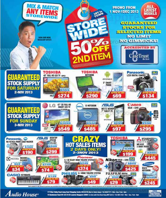 Toshiba 40PS1 TV, Panasonic DMC-LZ20 Digital Camera, LG 47LX6500 TV, ASUS ME172 Memopad, Panasonic NA-107VC4 Washer, ASUS CP3130 Desktop PC, Pioneer PSS-521 Home Theatre System, Mitsubishi Electric MR-V45C Fridge and Samsung RV415 Notebook