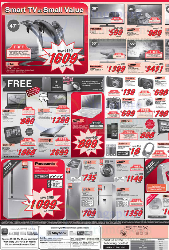 TVs, Notebooks, PC, Digital Cameras, Phone, USB Flash Drive, Washers, Fridges, LG, Panasonic, Samsung, Acer, HP, Sony, Alienware listed are LG 47LA623T TV, Panasonic THL39B6S TV, Panasonic THL50E6S TV, Samsung UA55F7100 TV, Samsung UA40F5500 TV, Acer V5-573G-54208G50AKK Notebook, HP TS23-F300D AIO Desktop PC, Sony Vaio Pro 13 SVP13213CGS Notebook, Dell Alienware AW14-470872G-W8 Notebook and Samsung NP905S3G-K02SG NotebookAlso listed are Casio QV-R 300 Digital Camera, Canon Powershot G16 Digital Camera, Sony Xperia Z1, LG WFT8061DD Washer, LG GRM 352RLC Fridge, Samsung WD0804 Washer and Samsung RT5582BTBWW Fridge