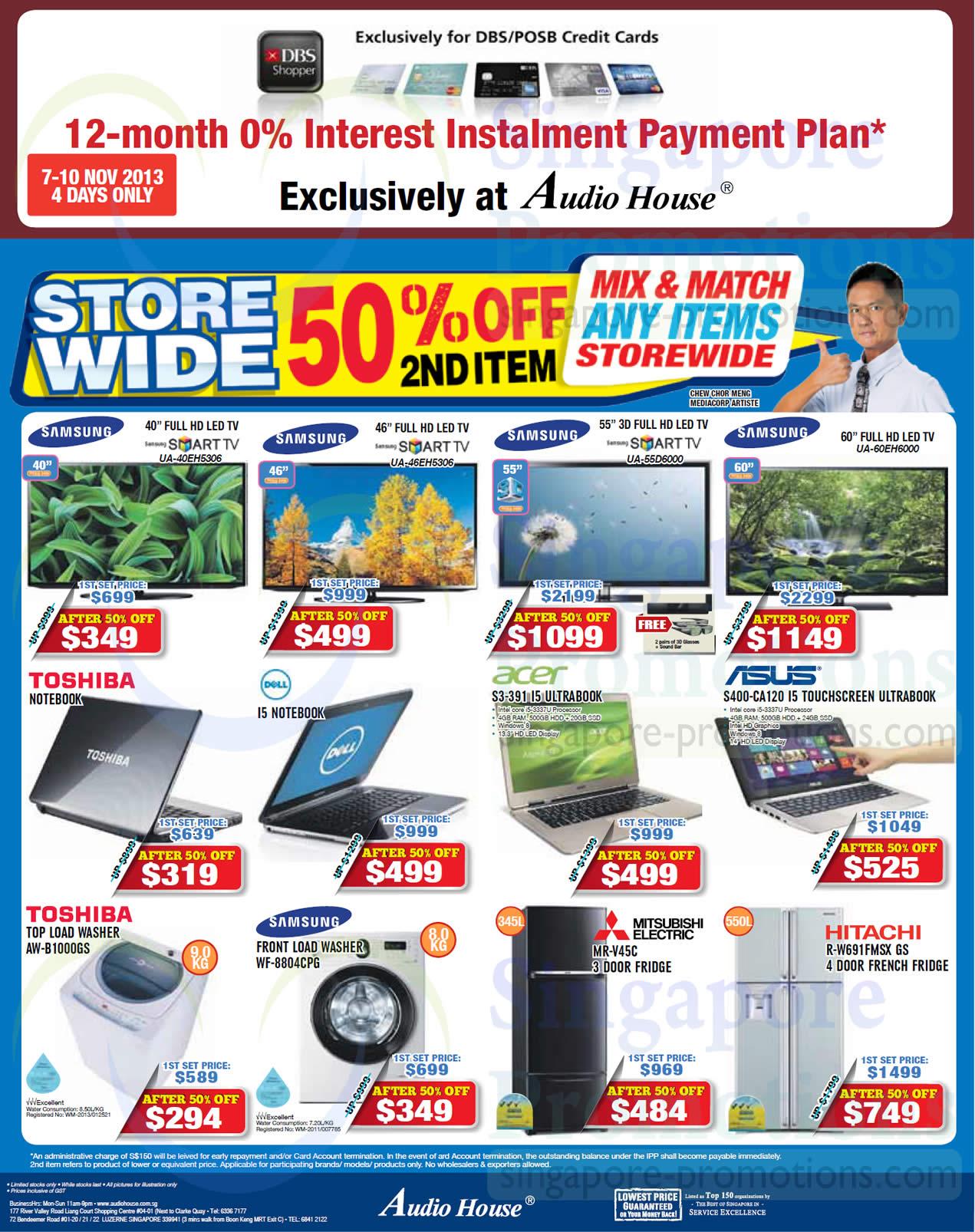 Samsung UA40EH5306 TV, Samsung UA46EH5306 TV, Samsung UA55D6000 TV, Samsung UA60EH6000 TV, Acer S3-391 Notebook, ASUS S400-CA120 Notebook, Toshiba AW-B1000GS Washer, Samsung WF-8804CPG Washer, Mitsubishi Electric MR-V45C Fridge and Hitachi R-W691FMSX GS Fridge