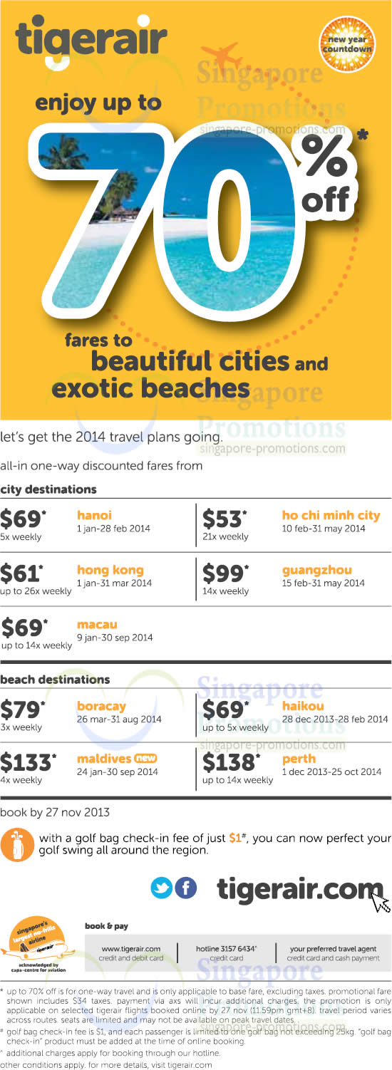 Here you can find the latest Tigerair promotional codes