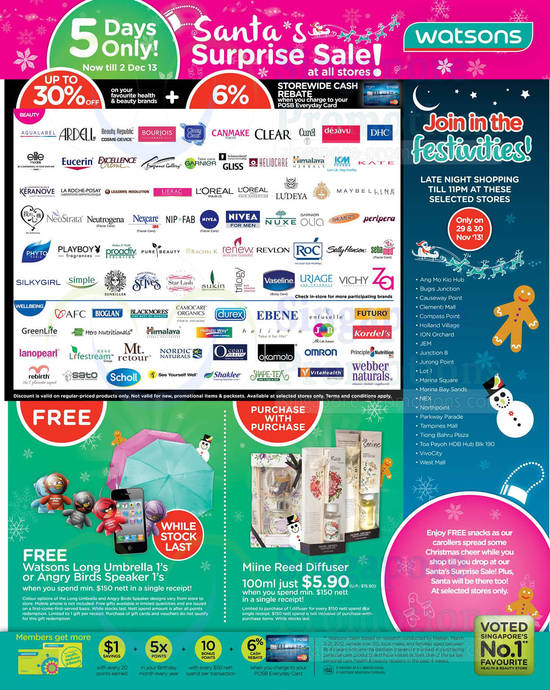 Up to 30 Percent Off, Free Watsons Long Umberlla, Angry Bird Speaker, Miine Reed Diffuser