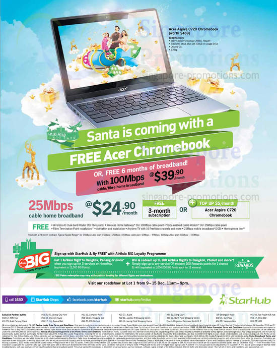 24.90 25Mbps Cable Broadband, 39.90 100Mbps, Free Acer Chromebook or Up To 6 Months Broadband Free, Lot 1 Roadshow