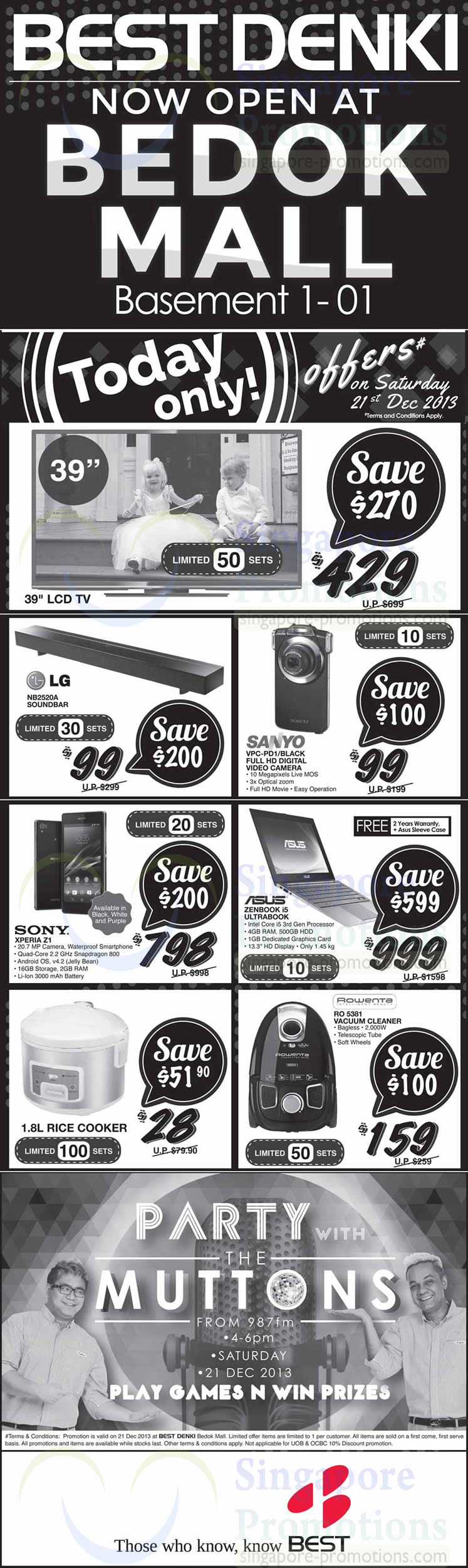 (Sat Only) LG NB2520A Soundbar, Sanyo VPC-PD1 Video Camera, Sony Xperia Z1 and Rowenta RO5381 Vacuum Cleaner