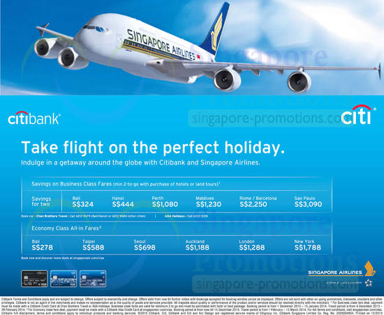 Travel Promotions. Citi has partnered with leading travel providers to bring offers on airline tickets, hotel stays, car hire and more. Browse through for more details.
