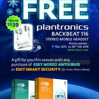 Read more about ESET Antivirus Free Plantronics Stereo Mobile Headset Promo 1 Dec 2013 - 28 Feb 2014