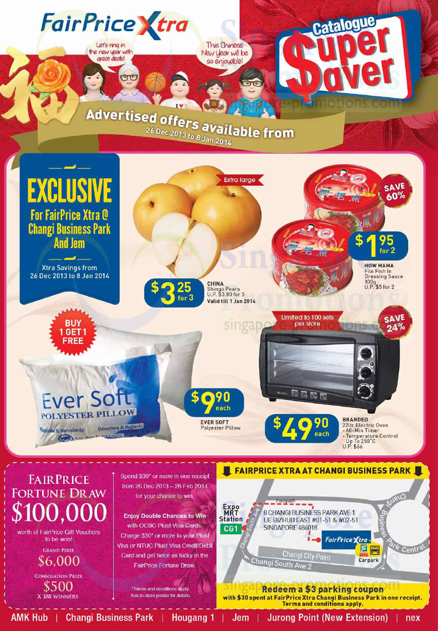Fortune Draw, Groceries, Pillows, Ovens