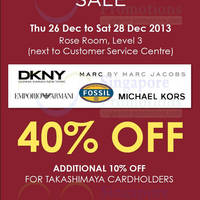 Read more about Fossil Group 40% OFF Watches SALE @ Takashimaya 26 - 28 Dec 2013