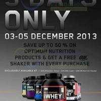 Read more about Optimum Nutrition Up To 50% OFF @ Golden Shoe Car Park 3 - 5 Dec 2013