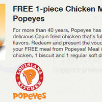 Read more about Popeyes FREE 1pc Chicken Meal For Singtel Customers 9 - 14 Dec 2013
