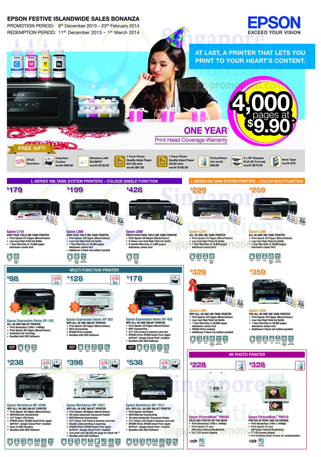 Printers L-Series Ink Tank System, Expression Home, 4R Photo Printer, Workforce