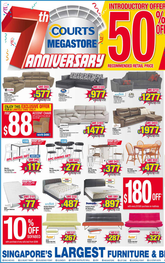 Nicollo Tania Sofa, Silentnight Cassandra Sofa, King Koil Clairmore Sofa, Armadio Oran Sofa, HTL Henley Sofa, King Koil Perfect Seasons Mattress, Dunlopillo Perfect Mattress, Fuze Noah Sofa Bed, Fuze Federal Sofa Bed and Fuze Caleb Sofa Bed