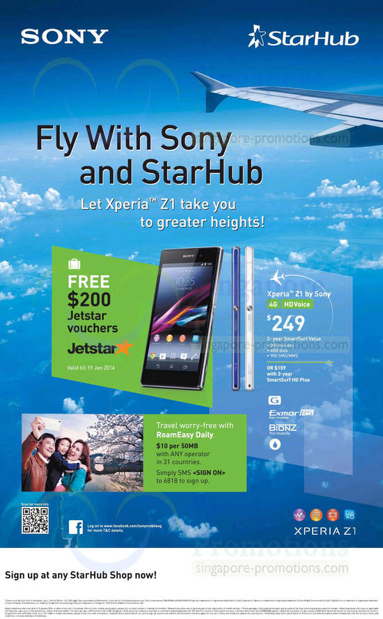Starhub Sony Xperia Z1, Free Jetstar Vouchers