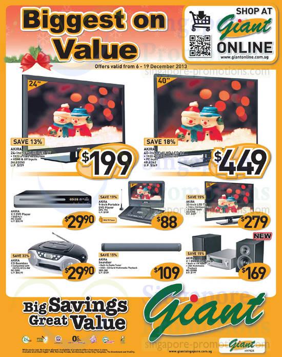 Akira 24LED250 TV, Akira 40LED62 TV, Akira DPS-T92 DVD Player, Akira 32LED52 TV, Akira SBR-388 Soundbar and Akira MC-SS98B Micro System