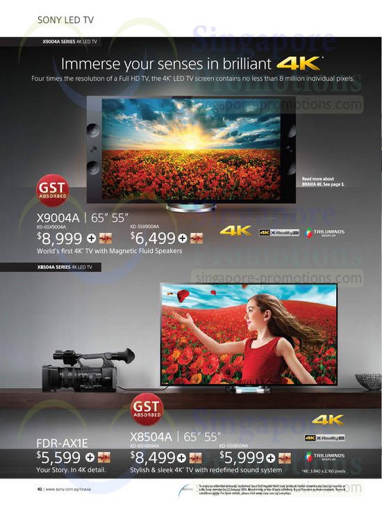 Sony KD-65X9004A TV, Sony KD-55X9004A TV, Sony FDR-AX1E TV, Sony KD-65X8504A TV and Sony KD-55X8504A TV