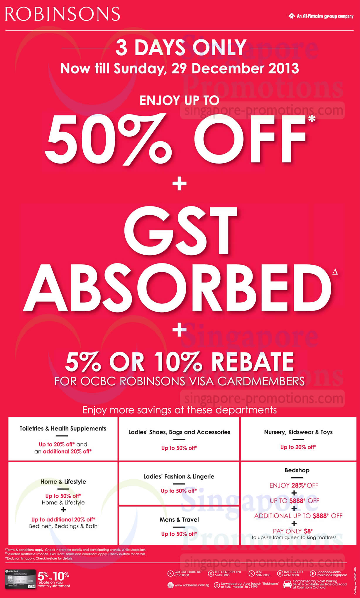 Up To 50 Percent Off, GST Absorbed, Individual Department Promos