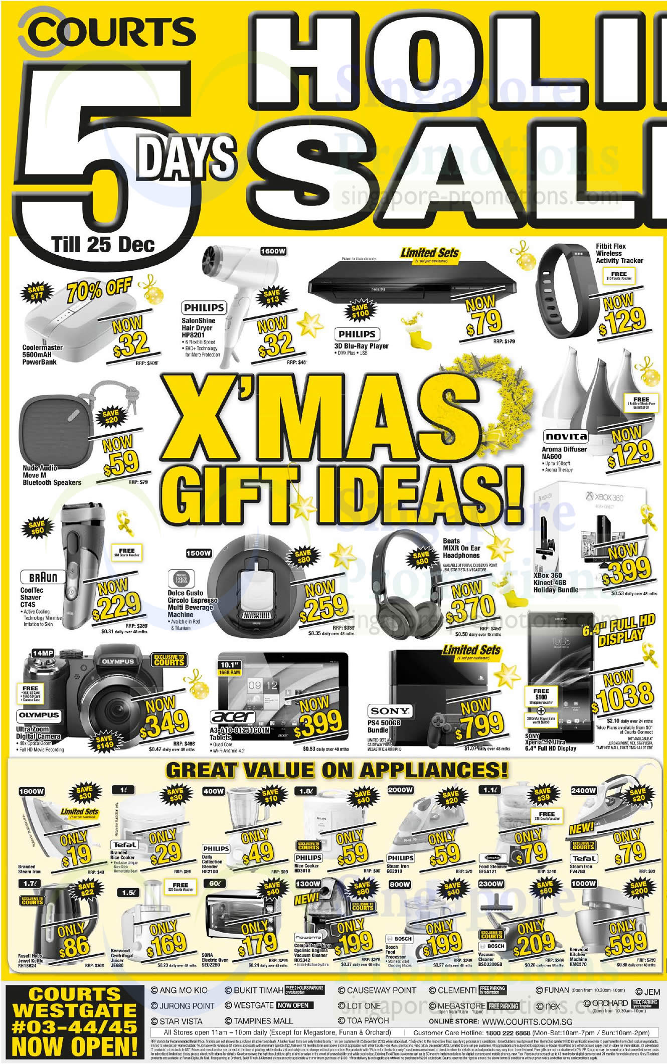 Xmas Gift Ideas, Speakers, Tablets, Irons, Vacuum Cleaners, Ovens, Nude Audio, Novita, BrAun, Nescafe listed are Nude Audio Move M Speakers, Novita NA600 Aroma Diffuser, BrAun CT4S Shaver, Nescafe Dolce Gusto Circolo Espresso Coffee Machine, Beats MIXR Headphones, Acer A3-A10-81251G01N Tablet, Sony PlayStation 4, Sony Xperia Z Ultra, Philips HD3018 Rice Cooker and Philips GC2910 IronAlso listed are EuropAce EFSA121 Steamer, Tefal FV4780 Iron, Rusell Hobs RH18624 Kettle, Kenwood JE680 Juicer, Sona SEO2260 Oven, Rowenta R05342 Vacuum Cleaner, Bosch BSD3300GB Vacuum Cleaner and Kenwood KMC570 Kitchen Machine