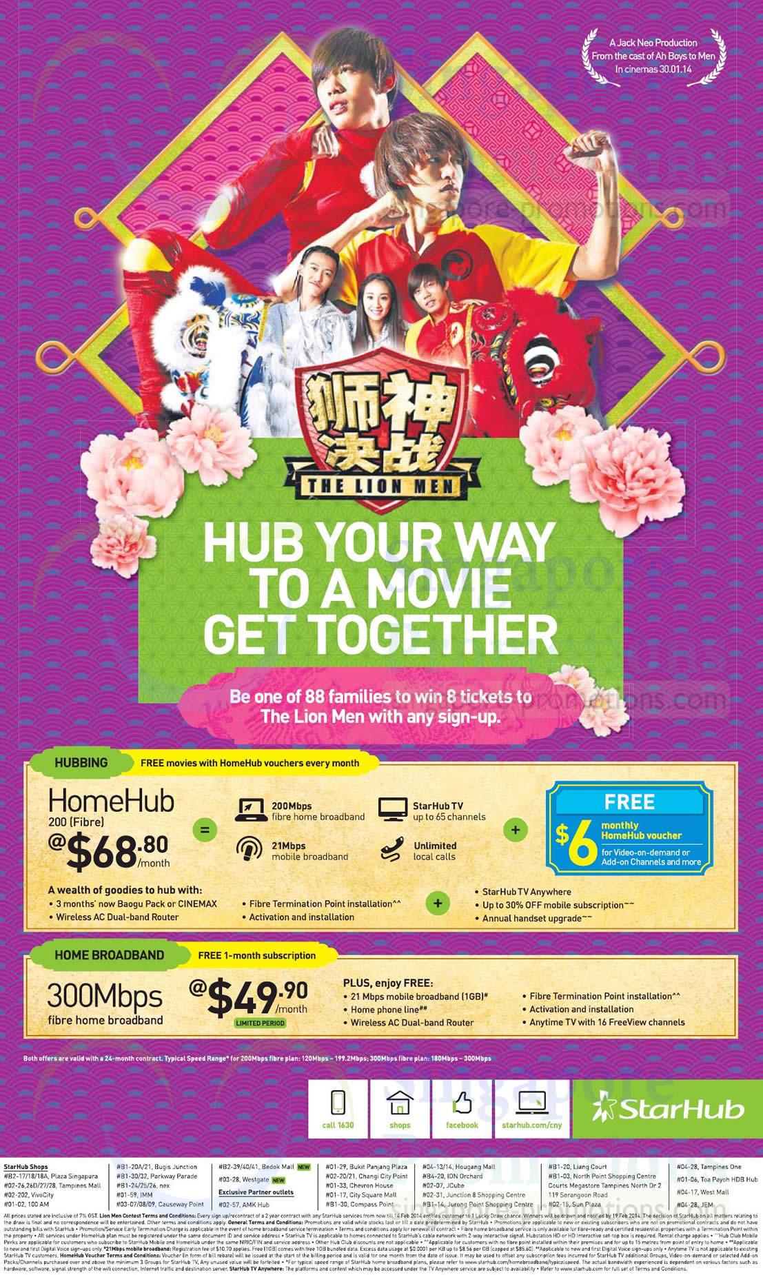 200Mbps HomeHub Fibre Broadband 68.80, 300mbps 49.90 1 Month Free
