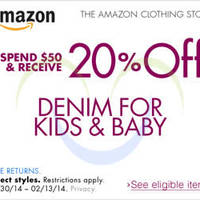 Read more about Amazon.com 20% OFF $50 Denim For Kids & Baby Items Coupon Code 25 Jan - 14 Feb 2014