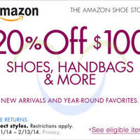 Read more about Amazon.com 20% OFF $100 Shoes & Handbags Items Coupon Code 1 - 14 Feb 2014