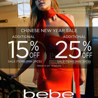 Read more about Bebe 15% OFF Sale Items Promo 31 Jan - 16 Feb 2014