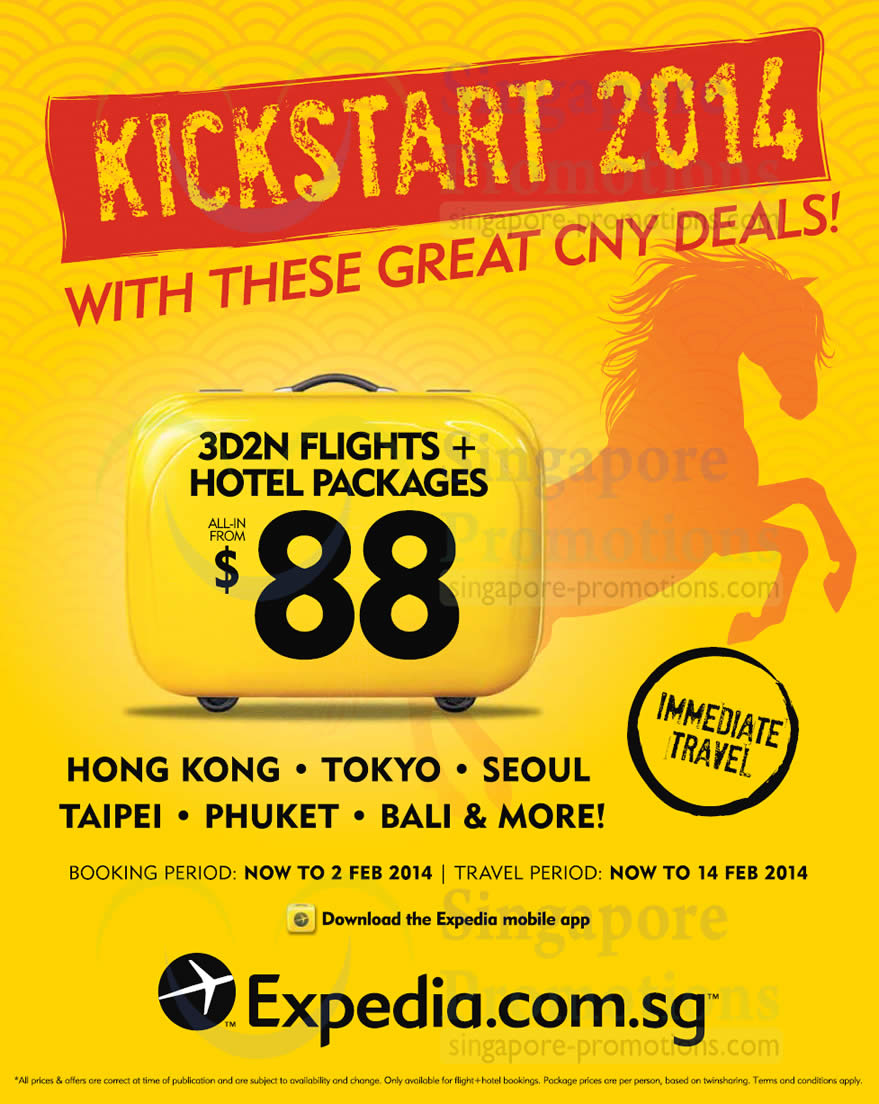 Expedia From $88 Flights & Hotel Packages Promo 7 Jan – 2 ...