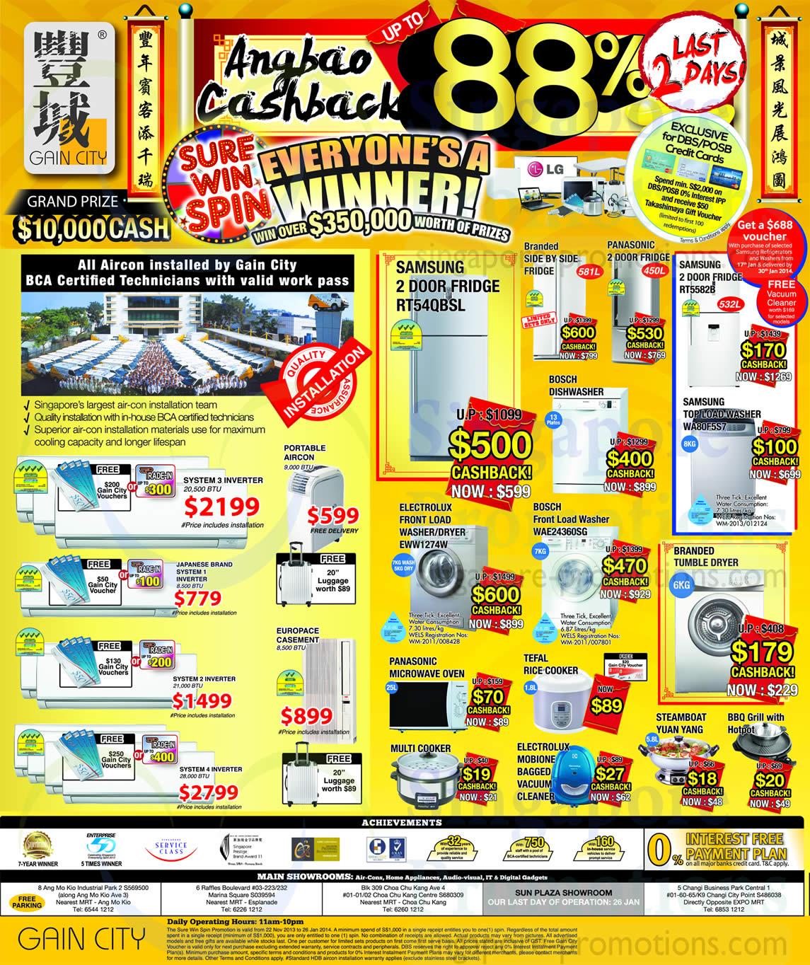 Samsung RT54QBSL Fridge, Samsung RT5582B Fridge, Samsung WA80F5S7 Washer, Electrolux EWW1274W Washer, Bosch WAE24360SG Washer