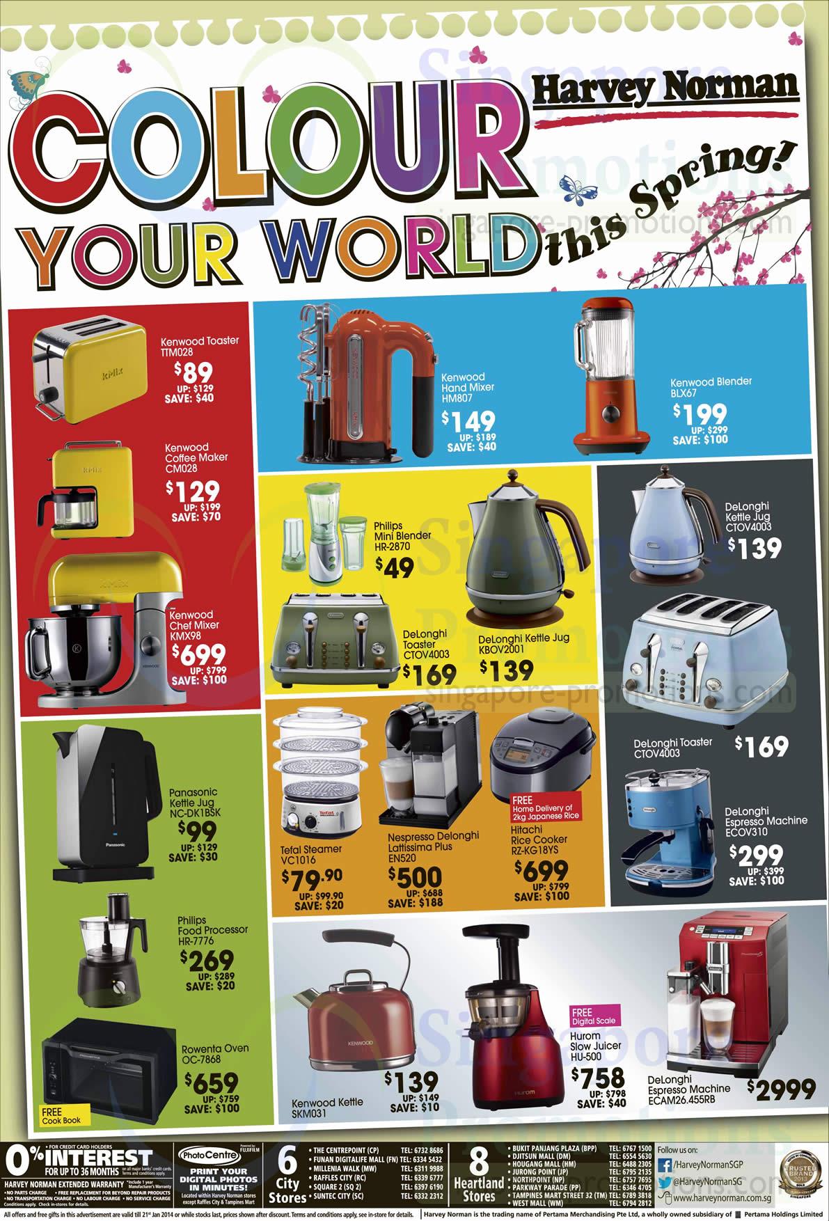 Kenwood TTM028 Toaster, Kenwood CM028 Coffee Machine, Kenwood KMX98 Chef Mixer, Kenwood HM807 Hand Mixer, Kenwood BLX67 Blender, Philips HR-2870 Blender, DeLonghi CTOV4003 Toaster, DeLonghi KBOV2001 Kettle Jug, DeLonghi CTOV4003 Kettle Jug, DeLonghi CTOV4003 Toaster, Panasonic NC-DK1BSK Kettle Jug, Tefal VC1016 Steamer, Nespresso EN520 Coffee Machine, Hitachi RZ-KG18YS Rice Cooker, DeLonghi ECOV310 Coffee Machine, Philips HR-7776 Food Processor, Rowenta OC-7868 Oven, Kenwood SKM031 Kettle, Hurom HU-500 Slow Juicer and DeLonghi ECAM26.455RB Coffee Machine