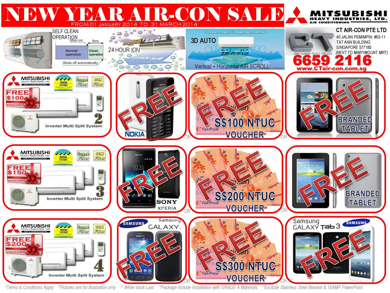 Mitsubishi Heavy Industries Air Conditioners, Free Gifts