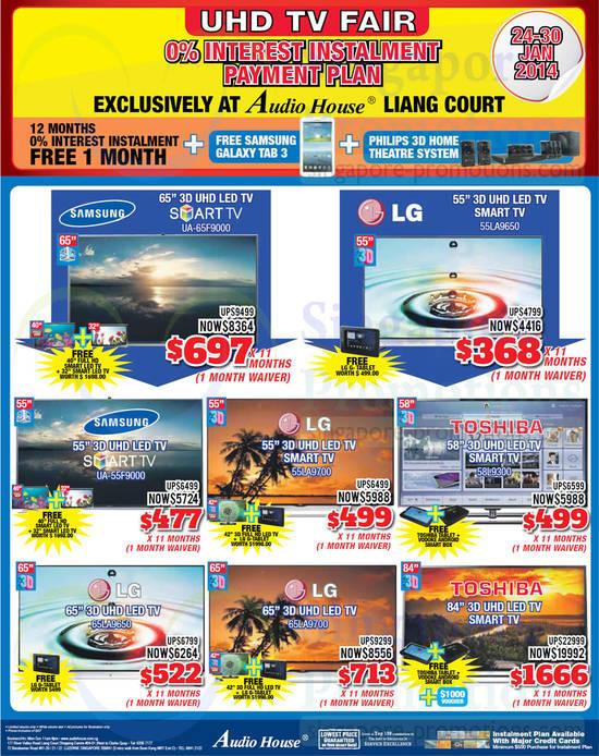 Samsung UA65F9000 TV, LG 55LA9650 TV, Samsung UA55F9000 TV, LG 55LA9700 TV, Toshiba 58L9300 TV, LG 65LA9650 TV, LG 65LA9700 TV