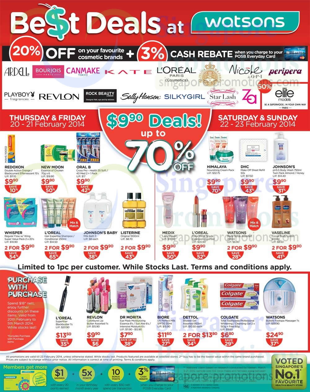 20 Percent Off Selected Cosmetic Brands, 9.90 Deals, Revlon, Loreal, Biore, Redoxon, New Moon, DHC, Himalaya, Johnsons, Medix