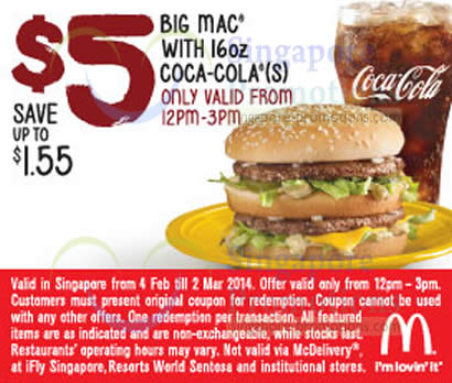 5.00 Big Mac with 16oz Coca-Cola (12pm - 3pm)