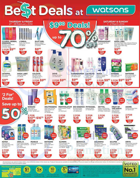 9.90 Offers, 2 For Deals, Bio-essence, Physiogel, Neutrogena, Hada Labo, LOreal, Oral B, Salonpas